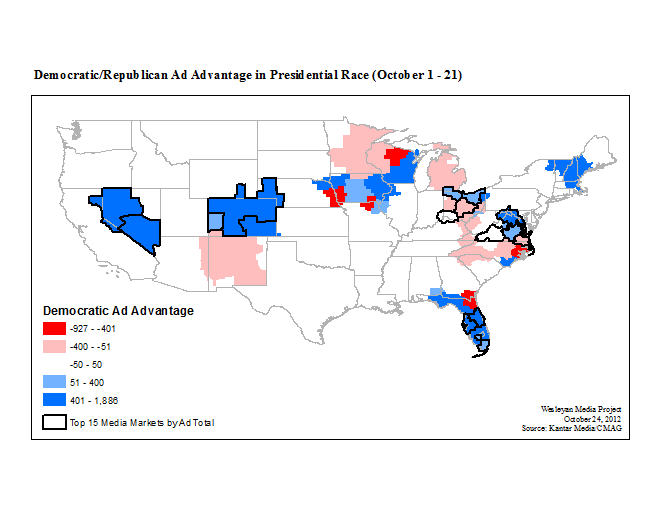 Shatters And Records For Total Ads Aired - Us election map 20112